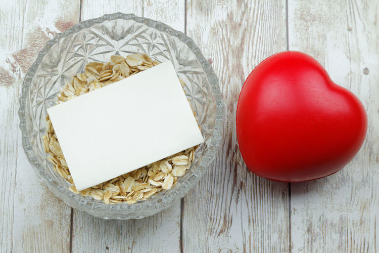Health concept Red Heart ❤ Heart Shape Love ♥ Love Rolled Oats Oat Oatmeal Wooden Background Health Healthy Healthy Eating Diet Dieting Wood - Material Studio Shot Paper Red Rustic Close-up