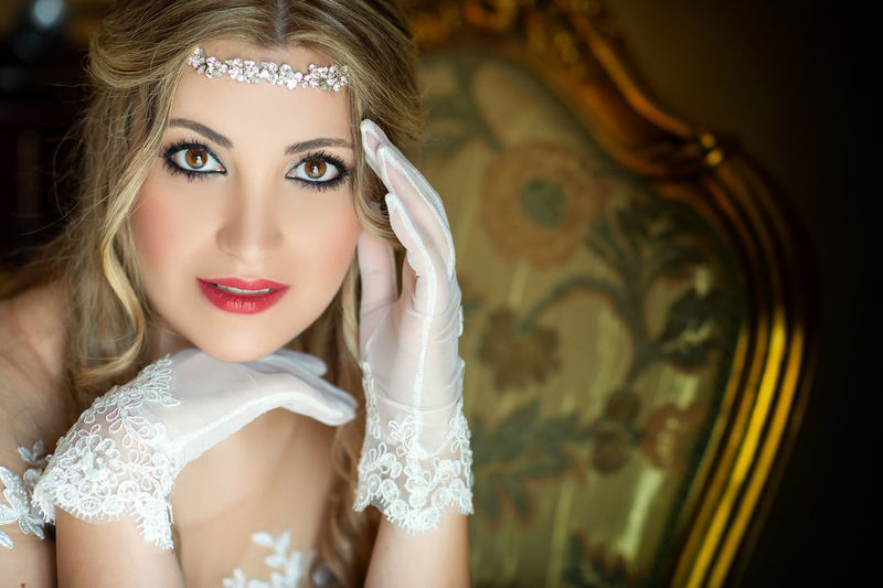 Adult Beautiful Woman Beauty Blond Hair Bride Celebration Clothing Contemplation Fashion Hair Hairstyle Headshot Human Face Luxury Make-up Newlywed One Person Portrait Wedding Women Young Adult Young Women