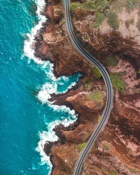 Lost In The Landscape Missing that bird eye view 😭 High Angle View Nature Scenics Beauty In Nature Water Road Day Winding Road Curve Tranquility Outdoors Sea No People Transportation Aerial View Motion Travel Destinations Mountain Road Lost In The Landscape