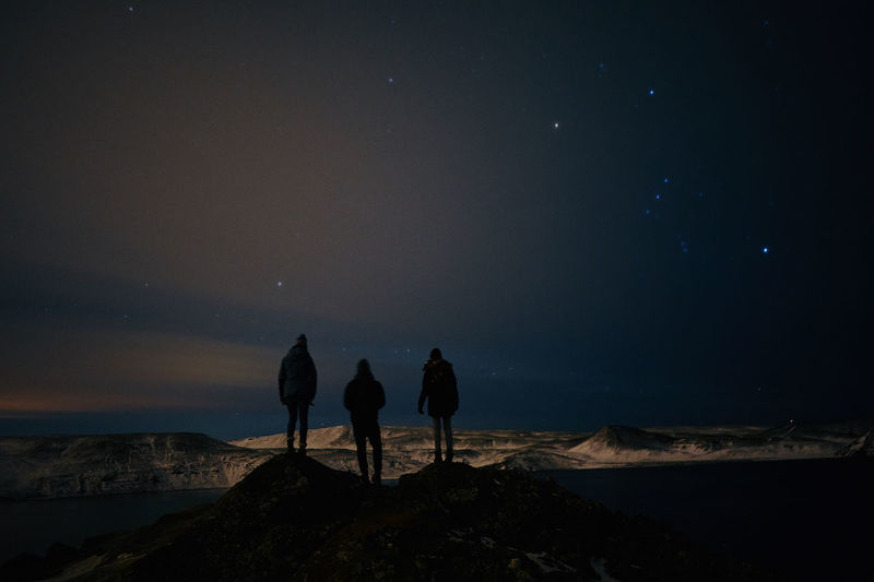 Adventure Astronomy Friendship Iceland Landscape Mountain Nature Night Outdoors Roadtrip Scenics Shadows Silhouette Sky Snow Space Stars Togetherness Winter The Great Outdoors - 2017 EyeEm Awards Connected By Travel Shades Of Winter An Eye For Travel HUAWEI Photo Award: After Dark