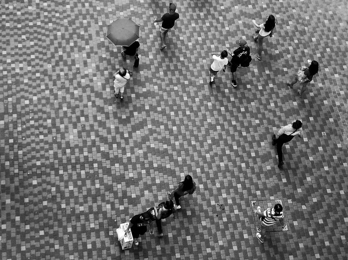 High angle view of people