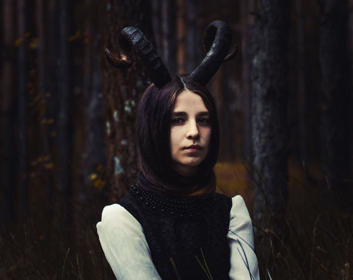 Girl Horns Wood Dark Colors