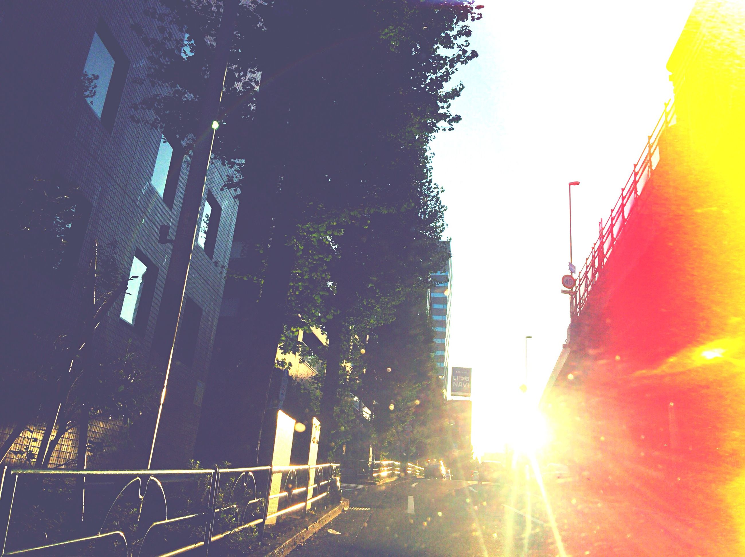 built structure, architecture, building exterior, sun, sunlight, clear sky, lens flare, sunbeam, low angle view, street light, sunset, sky, city, railing, outdoors, building, no people, transportation, day, construction site