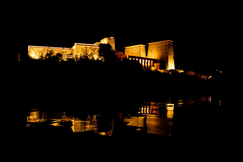 Temple of Philae at night. Aswan Egypt Philae Temple Architecture Clear Sky Night No People Outdoors Reflection Temple - Building