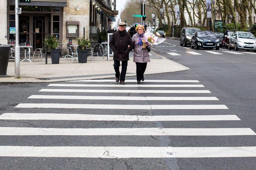 Architecture City City Life Couple Crosswalk French Old Couple Road Street Transportation Zebra Crossing