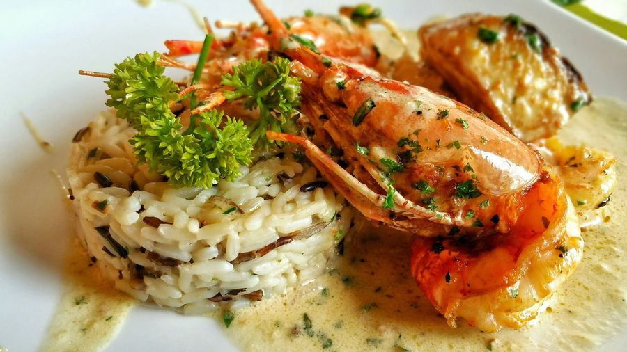 Wild rice with seafood. Rice Wild Seafood Mauritious Restaurant