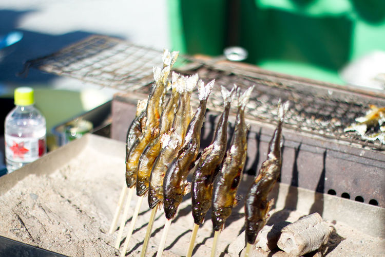 Close-up of fish by barbecue grill