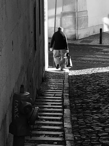 Rear View Real People Walking One Person Full Length One Man Only Light And Shadow Street Lisbon Lisboa Black And White Blackandwhite Lifestyles Old Man