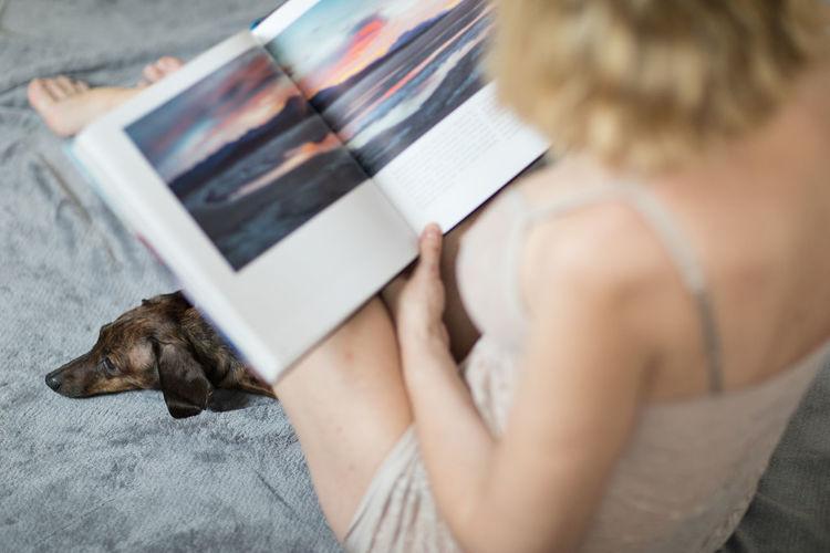 Sexywoman ThatsMe Femininity Seductive Women Seductive Pet Reading Blond Blond Hair Book Home Lingerie Woman Dog