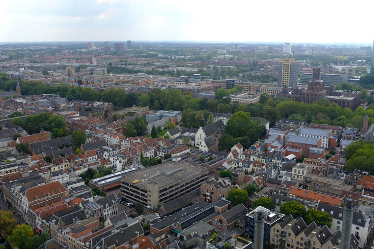 Dom Tower Dom Toren Aerial View Architecture Building Building Exterior Built Structure City Cityscape Crowd Crowded Day High Angle View Horizon Landscape Nature Outdoors Plant Residential District Sky TOWNSCAPE Tree Urban Sprawl