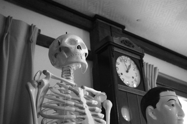 Low Angle View Indoors  Time Clock No People Day Clock Face School Elementary School Black And White Collection  My Photography Monochrome Orthostigmat 35mm F4.5 Vl Black&white Epson R-D1 Anatomical Model Anatomical Old Buildings Skeleton Skeletons