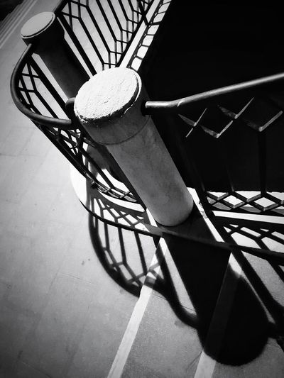 urban caprice Urban Photography Columns And Pillars Blackandwhite Black And White Black & White Blackandwhite Photography Black And White Photography Black&white Blackandwhitephotography EyeEm Best Shots - Black + White Shadow Railing Close-up Steps And Staircases Stairway Steps Staircase Hand Rail Low Section Bannister