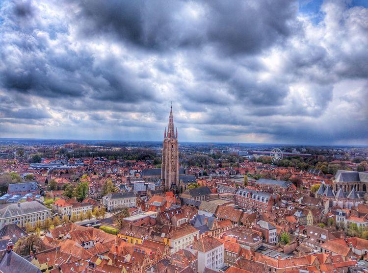 InBrugges Reddish Sunlight Belfort Windy Day Bruges Brugge