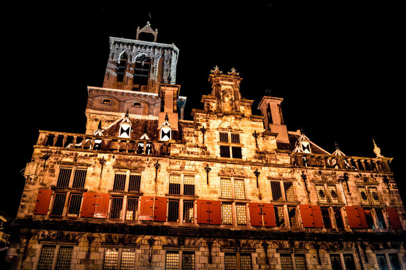 Night Architecture Building Exterior Built Structure No People Low Angle View History Outdoors Illuminated Nikon Photography Travel Destinations Travelphotography Nikon D3200 EyeEm Gallery Architecture Vacations Delft , Netherland. The Netherlands Dark Background Dark Photography Walking Around The City  City Agriculture Markt Sky Dark And Light