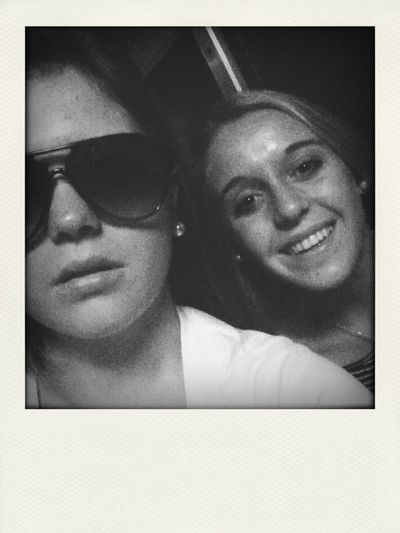 me & ellie just goofing off on the train!