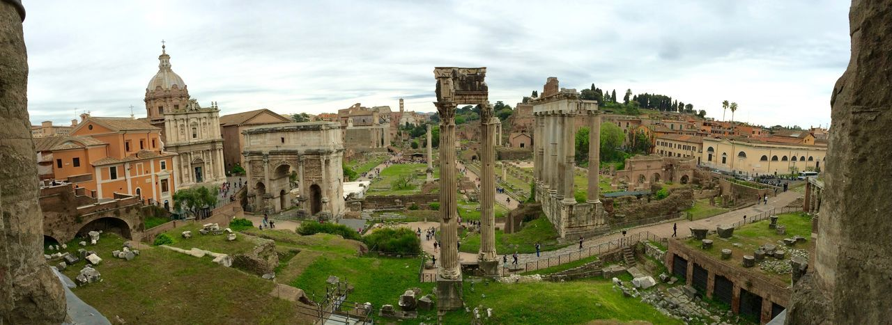Panoramic view of roman forum against sky