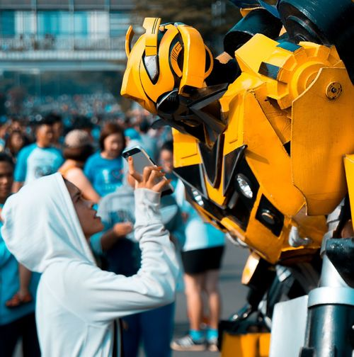 Bumblebee Transformers Transformer People Working Jakarta INDONESIA NX1 Outdoors City Life City Street Photography Streetphotography Street Art Street Life