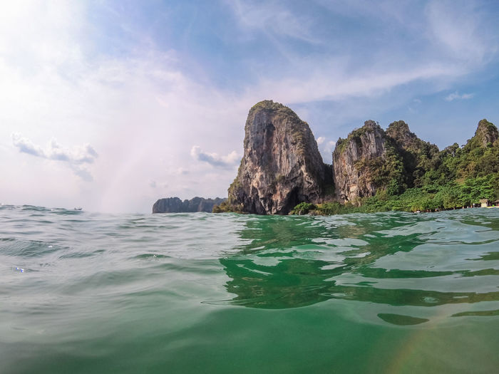Panoramic view of Railay beach in Krabi, Thailand from the see. Picture taken with action cam. Holiday Krabi Railay Thai Thailand Vacations Beach Beauty In Nature Day No People Outdoors Paradise Rock Scenics - Nature Sea Sky Tranquility Travel Destinations Tropical Water Waves
