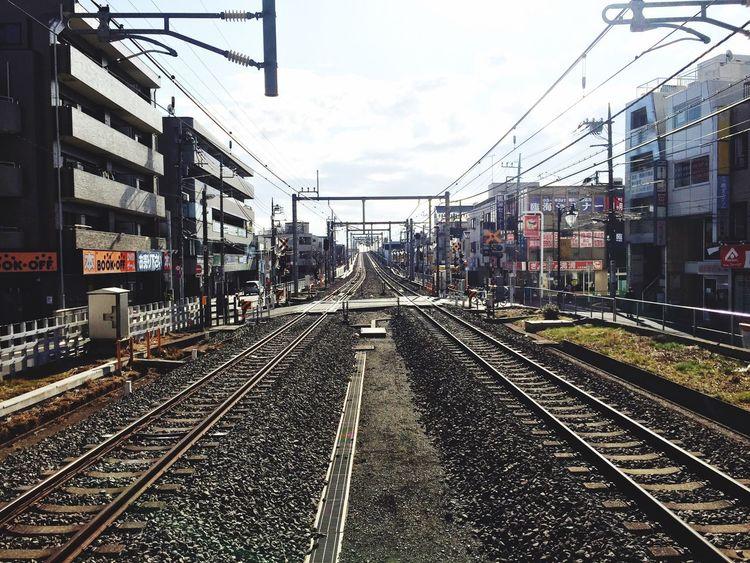 Railroad Track Transportation Rail Transportation Power Line  Outdoors First Eyeem Photo