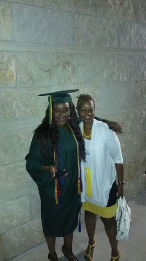 with mommy on graduation night