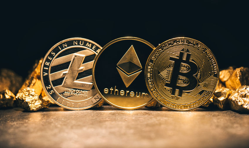 crypto-currencys Litecoin, ethereum, Bitcoin with Gold Nuggets Anonymous Business Currency Gold Gold Nugget Market Open-Source Peer-to-Peer Banking Bit-coin Bitcoin Blockchain Business Finance And Industry Cash Coin Coins Cryptocurrency Cryptography Cyberspace Digital Ethereum Financial Future Global Litecoin