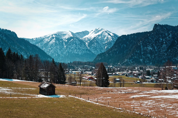 Oberammergau scenery Mountain Beauty In Nature Tree Nature Snow No People Landscape Landschaft Mountains Valley Wanderlust Travel Path Way Woods Moody Retro Stockphoto Horizon Over Water Spring Winter Bavaria Alps Bayern Berge Alpen