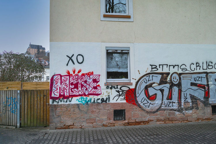Graffiti on wall of building