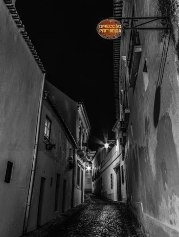 Discovering Beja by night, and hidden historic details. Old-fashioned Sign Signal Alley Architecture Building Exterior Built Structure House Illuminated Night No People Old Outdoors Residential Building Sky The Way Forward