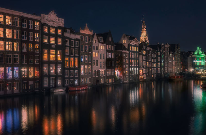 Remo SCarfo Building Exterior Architecture Reflection Water Built Structure Building Waterfront City Illuminated Night No People Sky Residential District River Nature Travel Destinations Outdoors Dusk Location Place Row House Apartment Dutch Holland