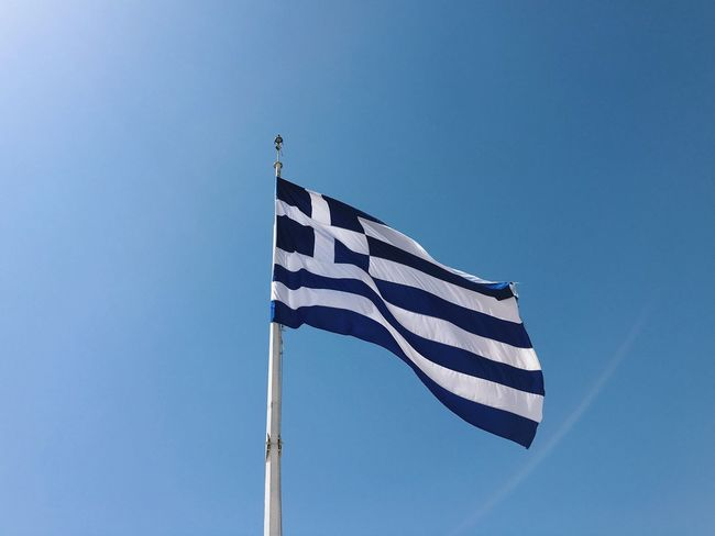 Flag Greece Greek Flag Blue Sky Blue Background