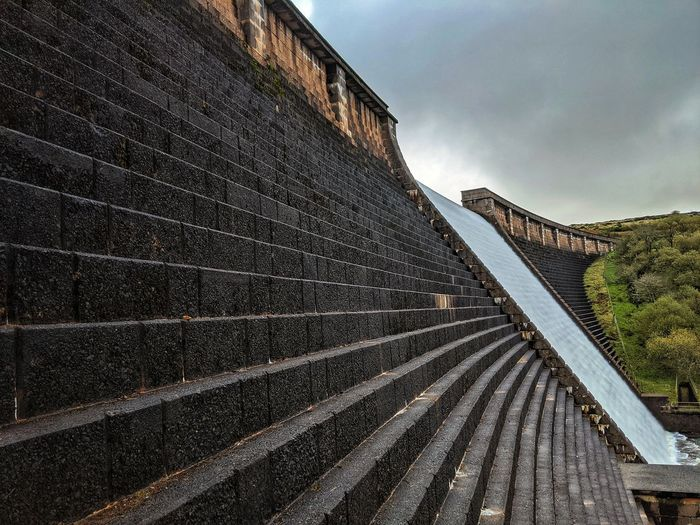 Low angle view of a dam against cloudy sky