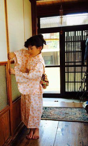 ゆかた Child ベルギーリネンの浴衣です。ママが手縫いしました( ´ ▽ ` )ノご注文承ります。
