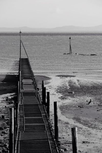 Jetty Low Tide Black & White Walkway North Wales Sea And Sky