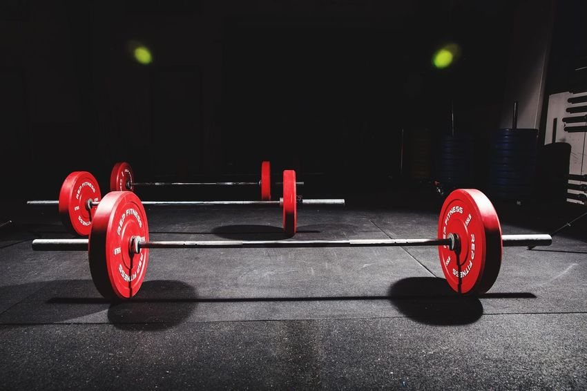 CrossFit Weights Red No People Sport Indoors  Day Cross Training Exercise Equipment Strength Exercising Sports Training Crossfit