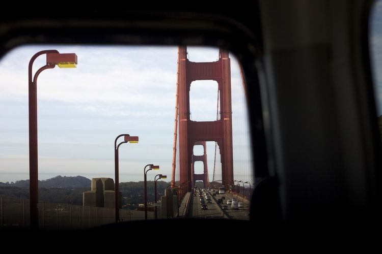 Golden Gate Bridge never looked so good from the back of a car window. Bay Area California Destination Explore Golden Gate Bridge San Francisco San Francisco Bay SF Traveling Tree Wanderlust