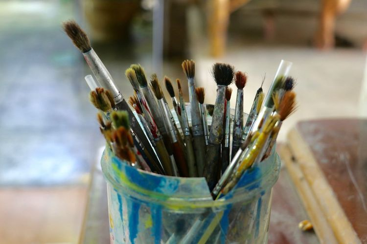 Paintbrush Paint Close-up Indoors  No People Variation Palette Desk Organizer Large Group Of Objects Day