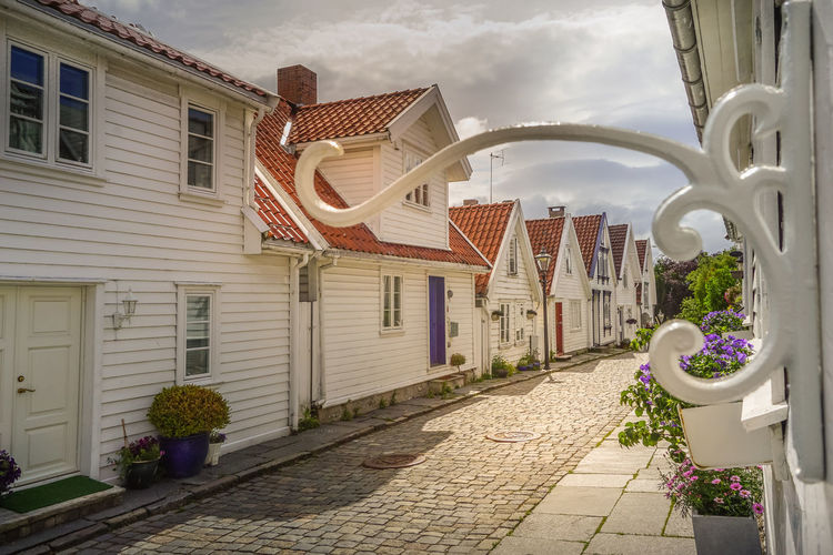 Building Exterior Built Structure Architecture Building Sky Footpath Nature Street City Cloud - Sky No People Plant Residential District Outdoors House Lighting Equipment Street Light Window Direction Town Norway White Background Wooden In A Row Capital Of Oil