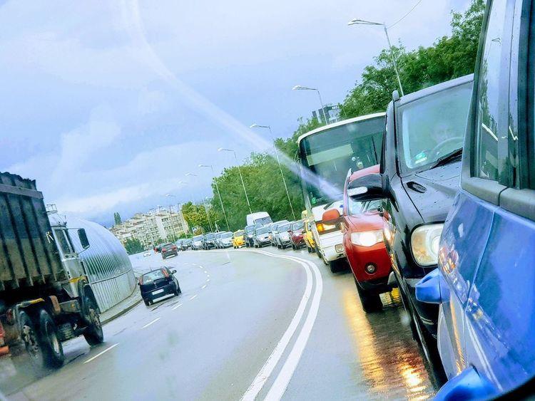"Little traffic ""never"" hurt anyone 😝 Traffic Traffic Jam Driving Urban Rear-view Mirror Vehicle Light Rush Hour Car Point Of View"