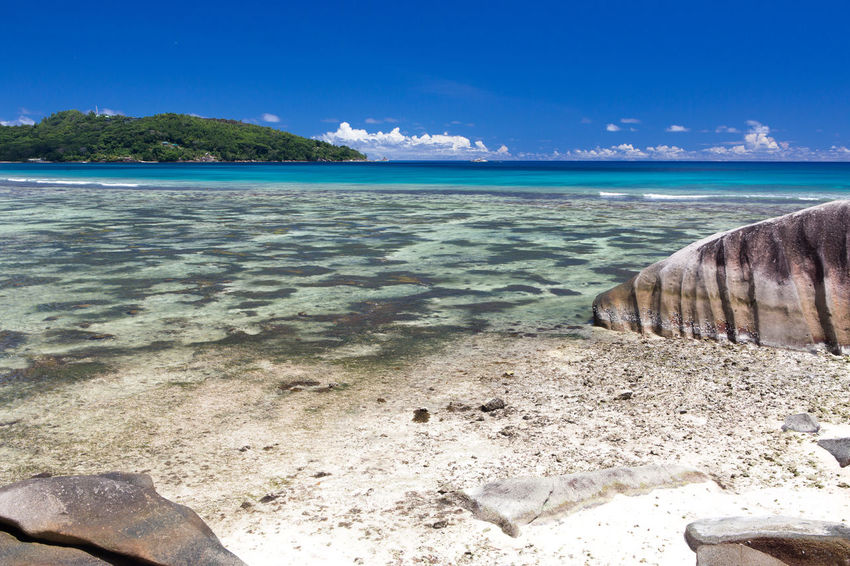 La Digue Anse Lazio Anse Source D'argent Beach Beauty In Nature Blue Day Horizon Over Water Landscape Mahé Nature No People Outdoors Postcard Praslin Seychelles Sand Scenics Sea Sky Tranquility Tropical Climate Water