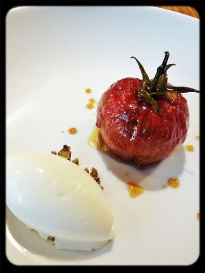 Caramelised Tomato, Stuffed with Twelve Flavours, Star Anise Ice Cream