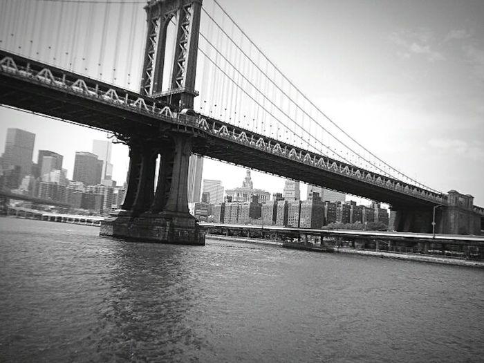 Manhattan Bridge Skyline Blackandwhite NYC July2014