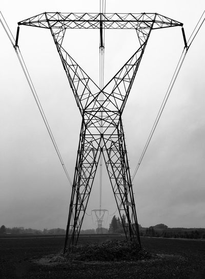IPhoneography Pylons Power Lines Black & White Symmetry IPS2015Architecture Fog