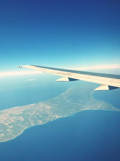 Airplane Aerial View Blue Journey Airplane Wing Transportation Nature No People Travel Mode Of Transport Scenics Beauty In Nature Air Vehicle Flying Outdoors Sky Aircraft Wing Day Clear Sky Mid-air