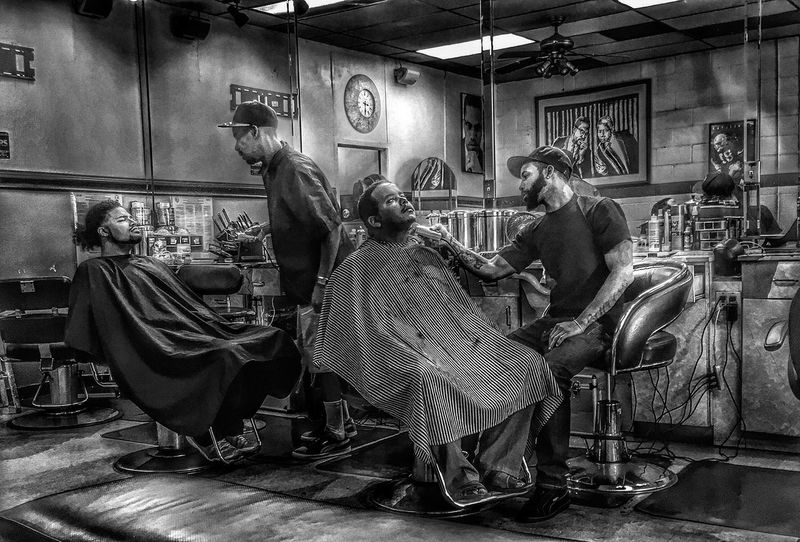 The shop Blackandwhite HDR Urban Barbershop People People Photography Black And White