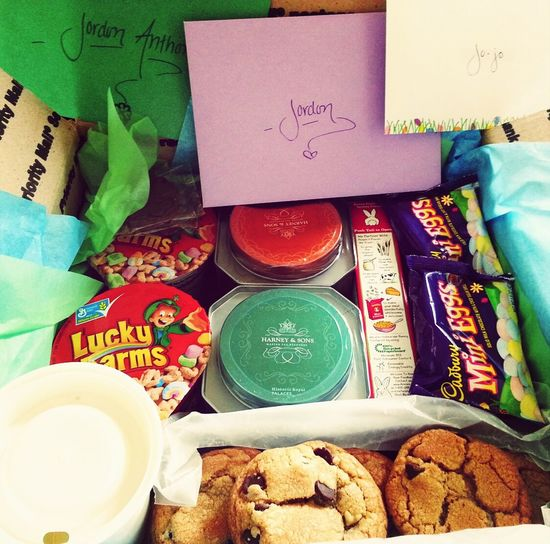 St. Patty's-Birthday-Easter care package on its way to Boston Conservatory :) Surprise!