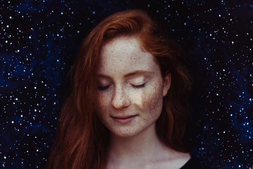 Adult Adults Only Beautiful Woman Beauty Close-up Eyes Closed  Happiness Headshot One Person One Woman Only One Young Woman Only Only Women Outdoors People Portrait Redhead Sky Smiling Young Adult Young Women The Portraitist - 2017 EyeEm Awards