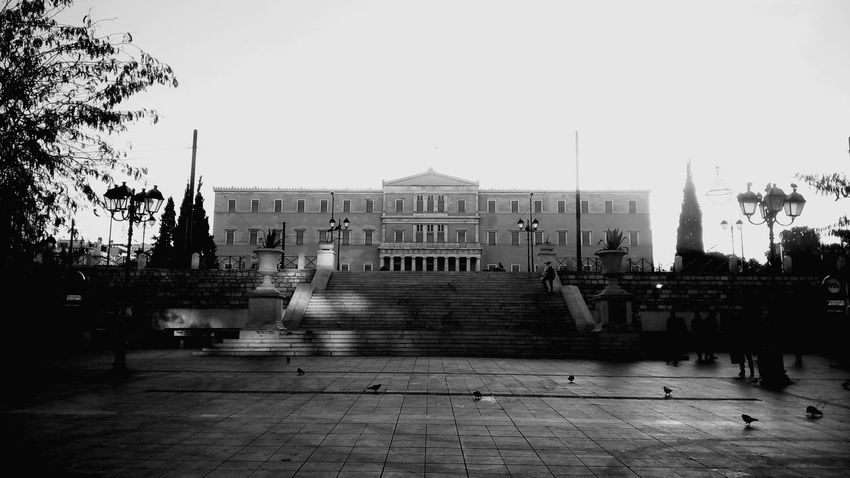 Greek Parliament Building Old Architecture Landmark Discover Your City Early Morning Light And Shadow Syntagma Square Athens Greece Black And White Collection  Blackandwhite Black & White Black And White Photography Blackandwhite Photography