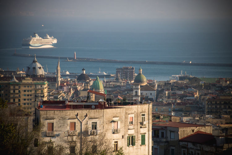 Italy❤️ Italian City Building Exterior Architecture Built Structure City Building Horizon Water Sea Horizon Over Water Sky High Angle View No People Residential District Nature Cityscape Day Travel Destinations Outdoors Place Of Worship TOWNSCAPE Mediterranean  Mediterranean Sea Ship Cruise Ship Harbor Rooftop