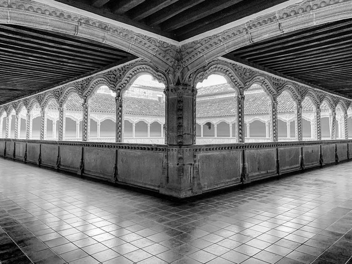 Arched cloister at monastery Architecture Church Travel Tourism Ceiling History Corridor The Past Pattern Indoors  Arcade Arch Tile Cloister Ornate No People Monastir Flooring Place Of Worship My Best Photo Travel Destinations Tiled Floor Built Structure Architectural Column 17.62°