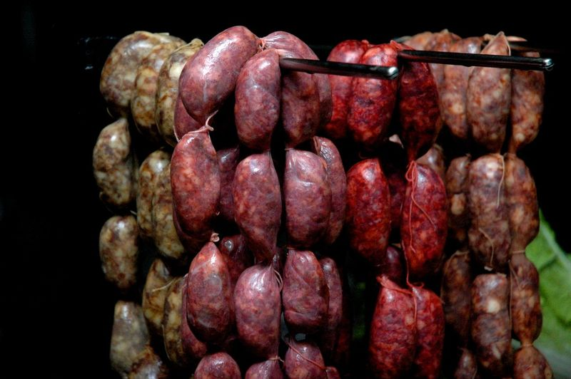 Eyeem Philippines Eyeem Philippines Album Market Pork Sausages Abundance Close-up Filipino Food Focus On Foreground Food Food And Drink Freshness Indoors  Large Group Of Objects Longganisa Meat Metal No People Raw Food Red Retail  Sausage Selective Focus Still Life Studio Shot